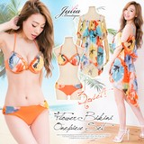 SALE◆[2016春夏]BEACH WEAR COLLETION★ワンピース付き花柄フリルビキニ上下3点セット