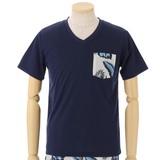 【16夏物入荷】ボーダー柄とフラワープリント VネックTシャツセットアップ