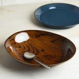 ウッドスタイル アメ色 23cmカレー皿(パスタ皿)[日本製/美濃焼/洋食器]