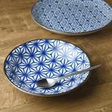 和ごころ 20.5cmパスタ皿カレー皿 アサノ葉 日本の伝統模様[日本製/美濃焼/和食器]