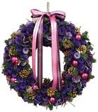 【2016クリスマス先行】LED Ribbon クリスマス リース-Purple Roll & Ball M/L