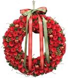 【2016クリスマス先行】LED Ribbon クリスマス リース-Red Roll & Ball M/L