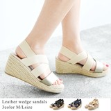 ◆ジュート素材ウェッジソールゴムベルトサンダル/シューズ/靴/雑貨◆423584
