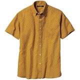 【メンズ】プリント麻混カジュアルシャツ(半袖) 【大きいサイズも展開】