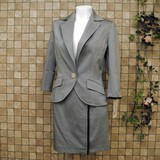 【アウトレット価格】綿混・七分袖テーラードジャケット&ミニスカートスーツ