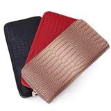 【ラウンドファスナー長財布】クロコ型押しPU財布 シンプル レザー調