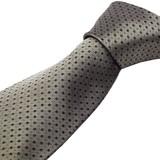 シルク100%紳士ネクタイ カーキグレイ/スクエアドット