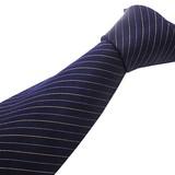 シルク100%紳士ネクタイ ネイビー/ストライプ