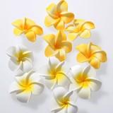 プルメリア(スポンジ造花)イエロー&ホワイト ミックスサイズ50個セット