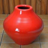 ポルトガル製 テラコッタ 素焼き 陶器 フラワーポット 赤 花瓶 アンティーク風 レッド 高さ27cm