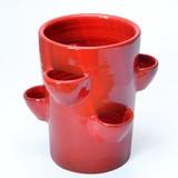 ポルトガル製 赤 ストロベリーポット 植木鉢 テラコッタ 素焼き レッド  ≪ 底穴あり≫ 寸胴型