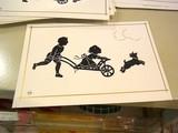 [ドイツ] 切り絵のカード 一輪車と犬