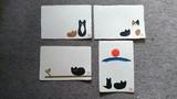 手漉き和紙の手作り 猫のポストカード 日本製