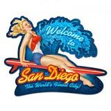 【スティールサイン】【ビーチ&スポーツ】SAN DIEGO SURF GIRL<看板> ★アメリカ製★【ハワイ】