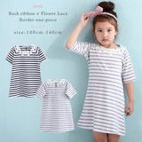 Bag Ribbon Flower Lace Border One-piece Dress Navy Gray Girls