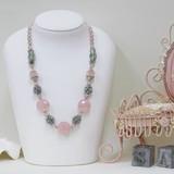NEW◆TVショッピング商品◆天然石◆クリスタルガラス◆ピンクオーロラカラーネックレス
