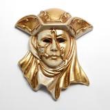 イタリア製 陶器製 壁掛けベネチアンカーニバルマスク 帽子 カペッロ 【CAPPELLO】仮面 ベージュ 金bce