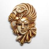イタリア製 陶器製 壁掛けベネチアンカーニバルマスク 花 フラワー 【FLORA】 仮面 ベージュ 金bce