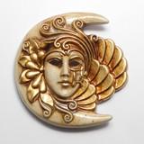 イタリア製 陶器製 壁掛けベネチアンカーニバルマスク 月 ルナ 【LUNA】 仮面 ベージュ 金