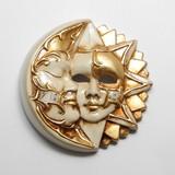イタリア製 陶器製 壁掛けベネチアンカーニバルマスク 月と太陽 【LUNA & SOLE】 仮面 ベージュ 金bce