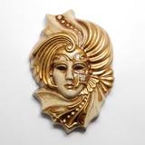 イタリア製 陶器製 壁掛けベネチアンカーニバルマスク 星 ステラ 【STELLA】 仮面 ベージュ 金bce