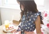 【韓国子供服】キッズ ガーリー 袖フリル ハートプリント シャツ 2色
