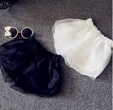 【韓国子供服】キッズ ガーリー シフォン重ね ショートパンツ 2色