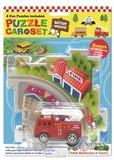 【レールに沿って走る♪】パズルカーセット (消防車)