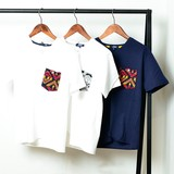 【6/30新入荷】 メンズ ジャガードポケット Vネック Tシャツ / ネイティブ オルテガ柄 半袖 カットソー