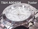 【値下げ】T&Hメンズ腕時計 メタルウォッチ 日本製ムーブメント クロノデザイン