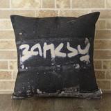 クッションカバー BANKSY ロゴ バンクシー × ジュビリー Jubilee 45×45cm リネン