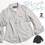 鹿の子カットシャツアウター ストレッチ素材 ライトアウター 長袖 春秋 清涼感 通気性 レーヨン混