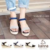 kanna【カンナ】  #KV6589 サンダル  ウェッジソール ストラップサンダル