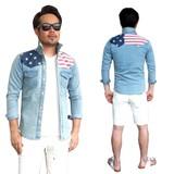 USAデザイン ストレッチ デニム 長袖シャツ #DSUSA-1