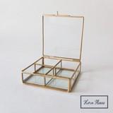 [ガラスケース]BRASSフレーム ガラスコンパートケース  4BOX