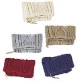 ニット編みクラッチバッグ ケーブル