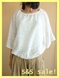 【最終】《SS SALE!》Cabinet☆ゆったり余裕でそよ風涼しげ!花柄レース裾シャーリングラグラン袖PO!