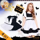 【即納】Let'sハロウィンパーティ!!メイド風ふんわりCUTEワンピース ハロウィン コスプレ 衣装