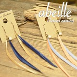 NEW【abeille】2色展開。 フェザー 2toneロングフックピアス! シンプル&フェミニン **