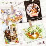 ♪キャットシンフォニカ♪絵本のワンシーンのような可愛い柄のポストカード☆ ねこと音楽の雑貨 日本製