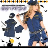 【即納】Let'sハロウィンパーティー!!ミニスカポリス ワンピース*警察 警官 ハロウィン コスプレ 衣装