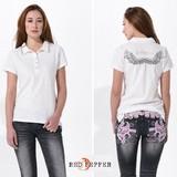 【SALE】(レディース)トレードマークの羽根刺繍入り ビジュー付きポロシャツ<綿100%>