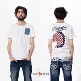 【人気商品】(メンズ)バックのカル刺繍 デニムポケットTシャツ<大きいサイズ>