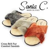 【Sonia C ソニア・シー】 イタリア製 ファークロスベルトサンダル【ELLE30】