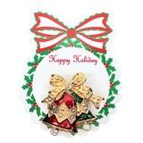 メタル ツインベルリボンブローチ ブローチ <クリスマス>