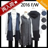 【 2016秋物★ 再入荷】フード付き配色・ロングベスト