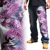 2016新作 和柄刺繍ジーンズ 紫龍鯉柄