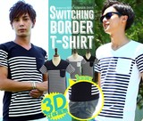 【IMP】3D 立体裁断 パネルボーダー柄 ポケット Tシャツ