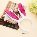 うさ耳カチューシャ スパンコール付き  可愛いヘアアクセサリー  コスプレ商品  6色   ハロウィン