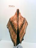 2016秋冬新作)スカーフ シルクサテンストライプペイズリー柄日本製四角スカーフ